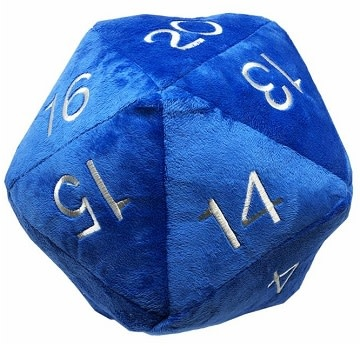 Jumbo Plush D20 Blue with Silver