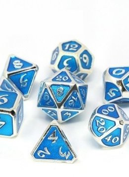Metal Mythica Dice Set - Platinum Aquamarine