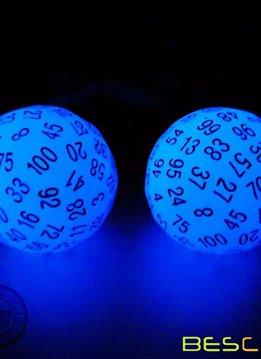 Dé à 100 Faces - Bleu qui brille dans le noir