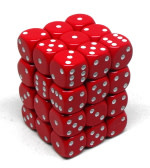 CHX25804 36 d6 12mm red dice with white numbers