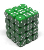 CHX25805 36 d6 green dice with white numbers