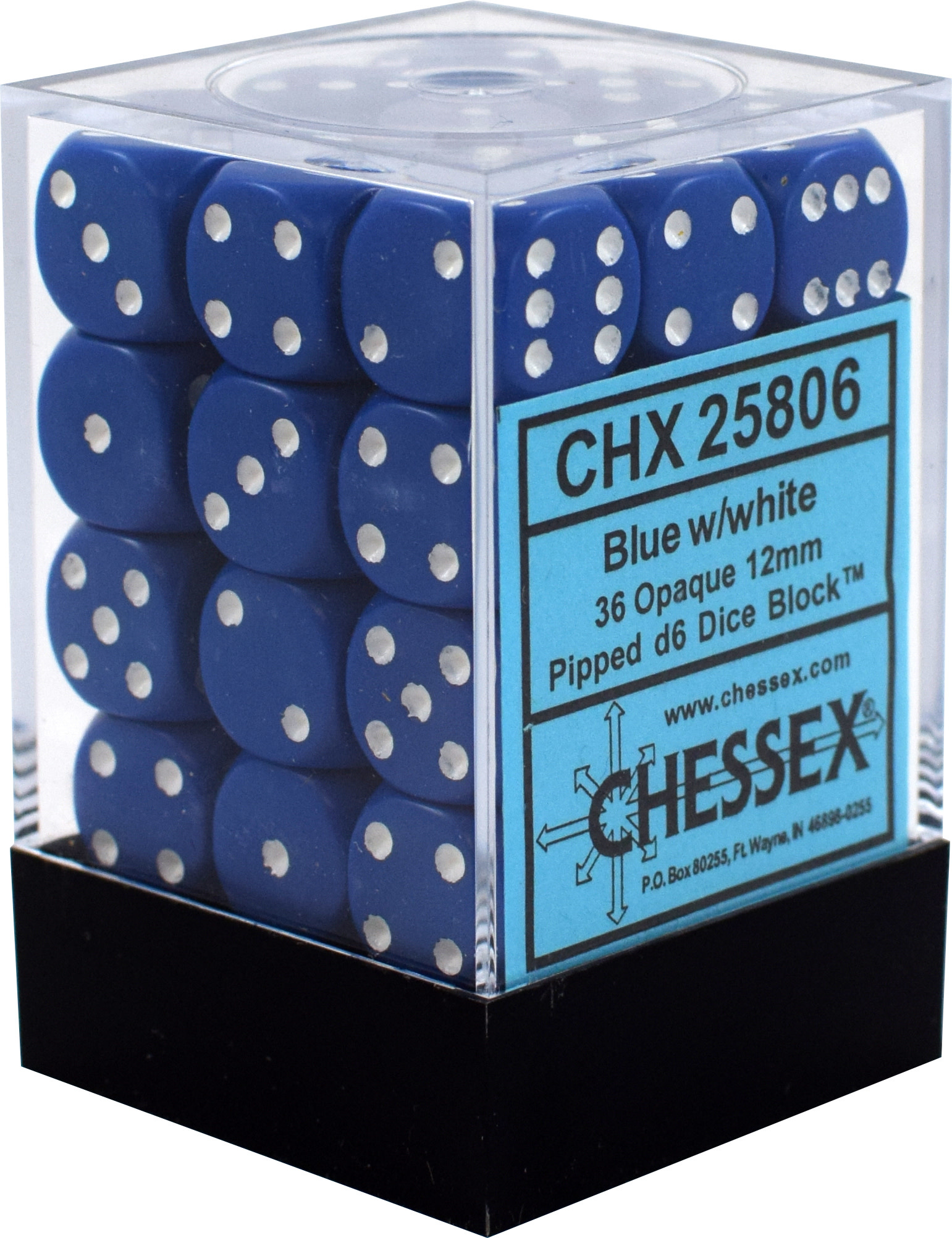 CHX25806 - OPAQUE 36D6 BLUE/WHITE 12MM