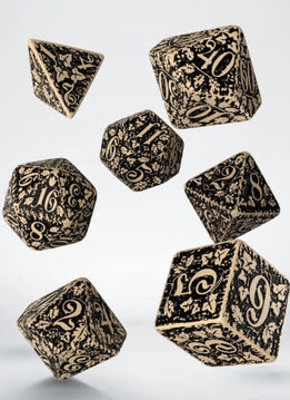 Forest 3D Dice Beige & Black 7 Pc