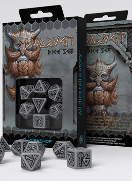 Dwarven Dice Gray & Black 7 Pc