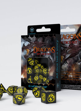 Dragon Dice Black & Yellow 7Pc
