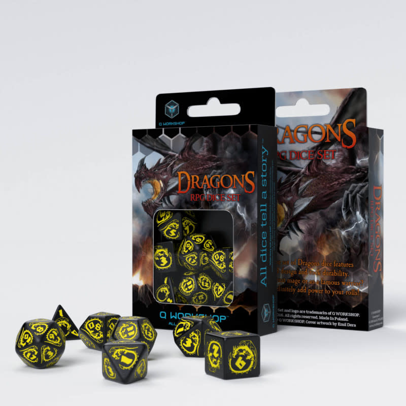 Dragon Dice Black & Yellow 7Pc