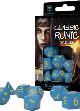 Runic Blue & Yellow Dice Set 7Pc