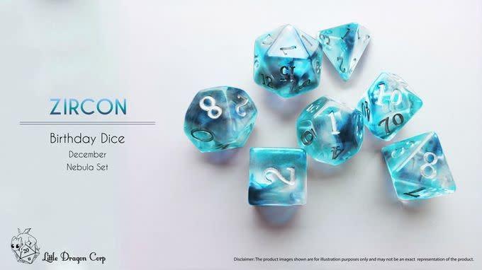 Birthday Dice: Zircon Nebula - 7pc RPG Set