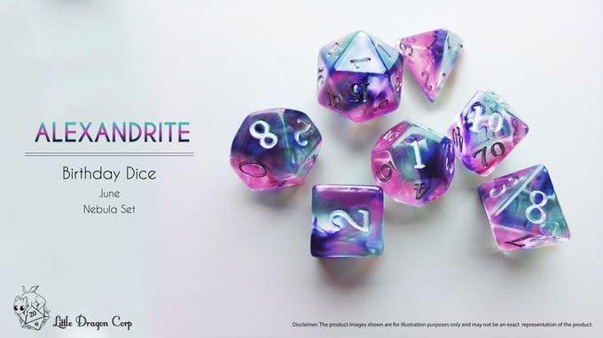 Birthday Dice: Alexandrite Nebula - 7pc RPG Set