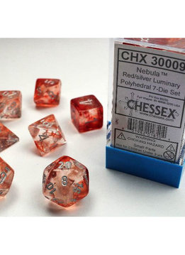 30009 Lab Dice Nebula Red w/ Silver 7pc Set