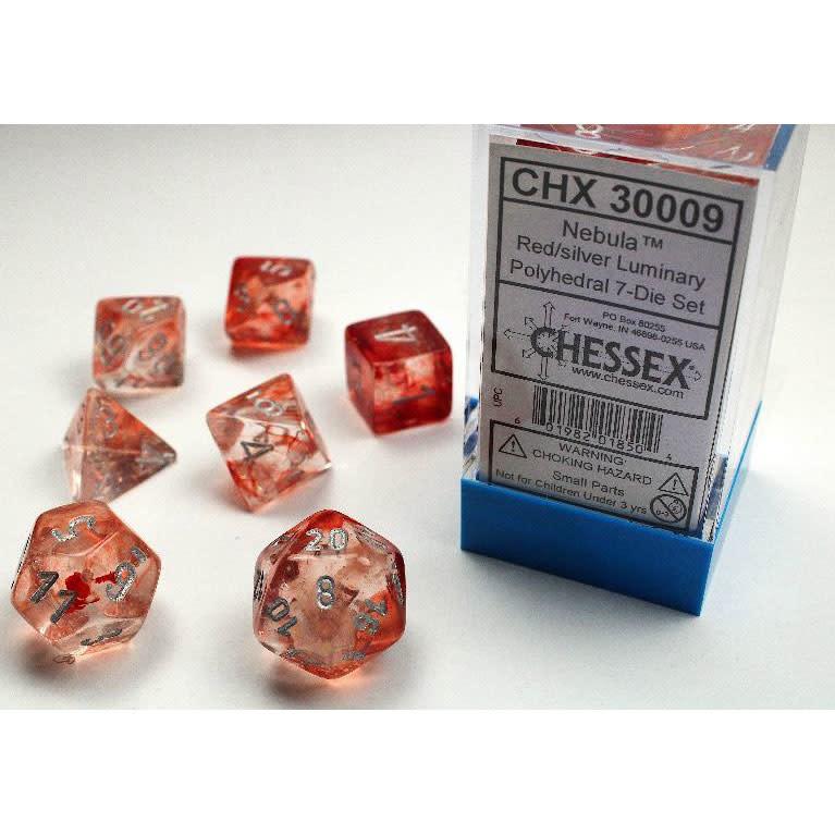 30009 Lab Dice Nebula Red w/ Silver 7pc Set