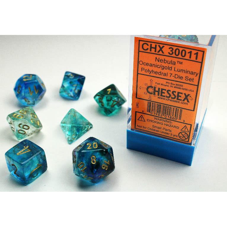 30011 Lab Dice Nebula Oceanic w/ Gold 7pc Set