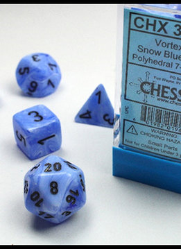 30029 Lab Dice Vortex Snow Blue w/ Black 7pc Set