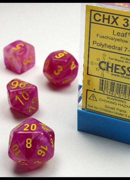 30027 Lab Dice Leaf Fuschia w/ Yellow 7pc Set