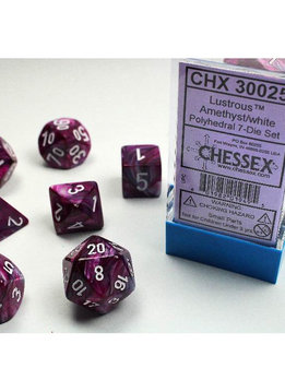 Lab Dice Lustrous Amethyst w/ White 7pc Set