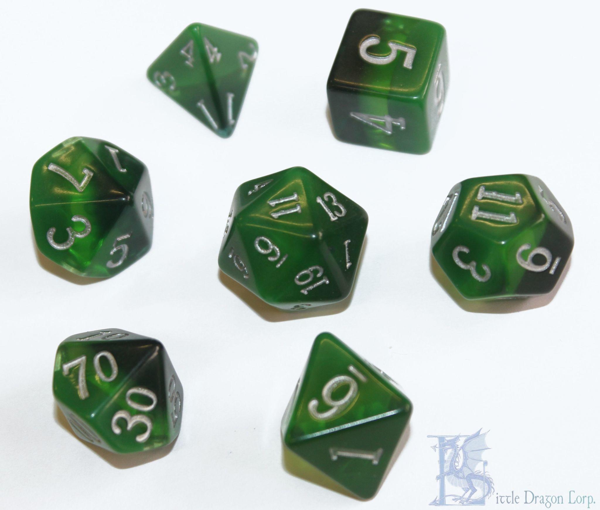 Birthday Dice: Emerald Nebula - 7pc RPG Set