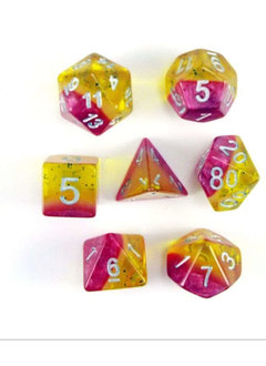 Yellow Rose 7pc Layered Dice Set