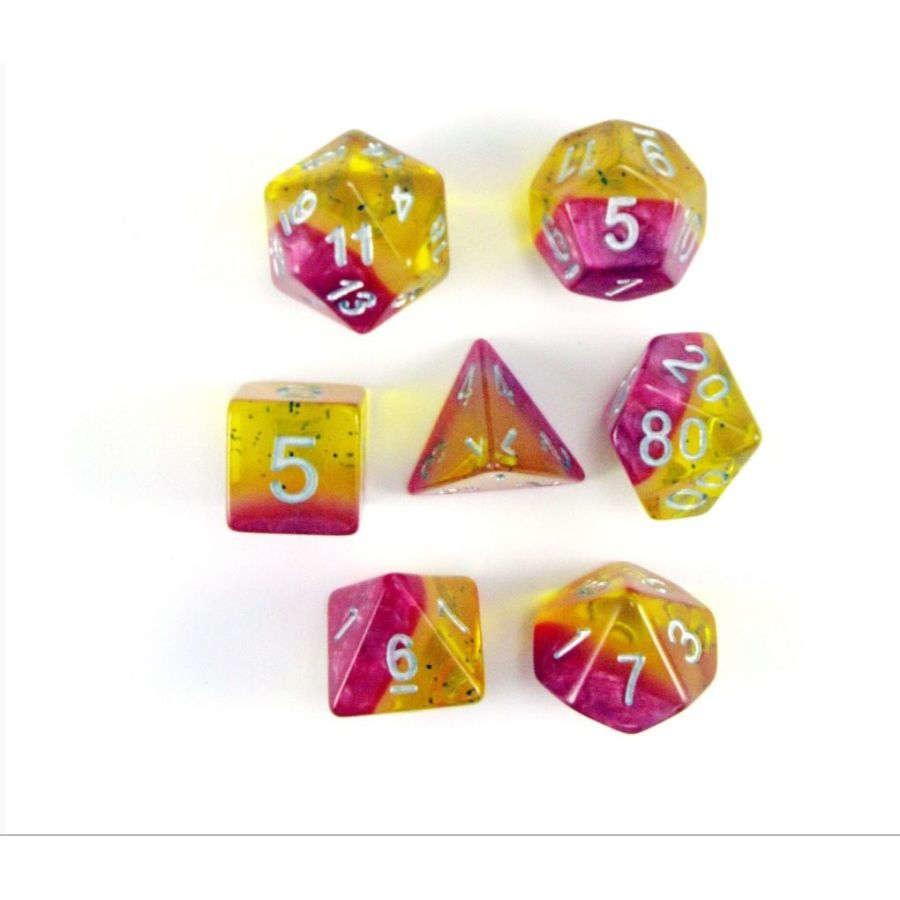 Yellow Rose 7pc Layered Dice Set