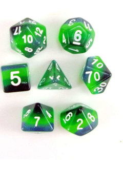 Shades of Green 7pc Layered Dice Set