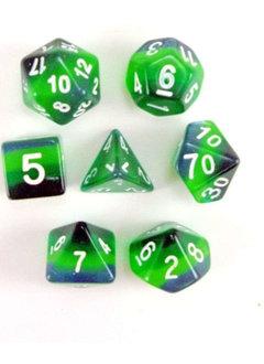 Shades of Green 7pc Layered Dice Set