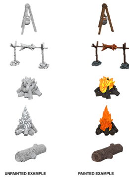 Wizkids Unpainted Minis: Camp Fire & Sitting Log