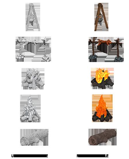 Wizkids Unpainted Minis: Camp Fire & Sitting Log