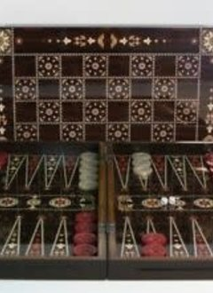 "Backgammon: 15"" Floral Wood Decoupage"