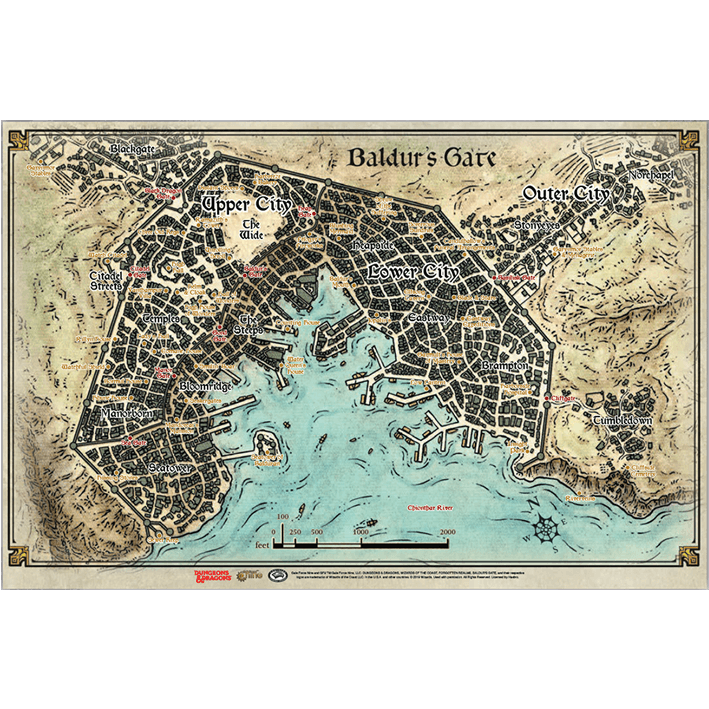 D&D Descent Into Avernus: Baldur's Gate Map