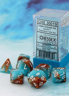 30019 Lab Dice Gemini Copper-Turquoise w/ White 7pc Set