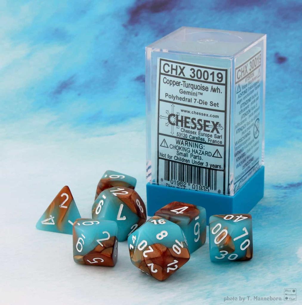 30019 Lab Dice Gemini Copper-Turquoise w/ White 7pc Set