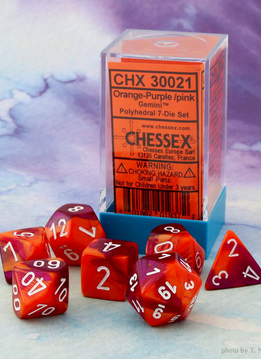 30021 Lab Dice Gemini Orange-Purple w/ White 7pc Set