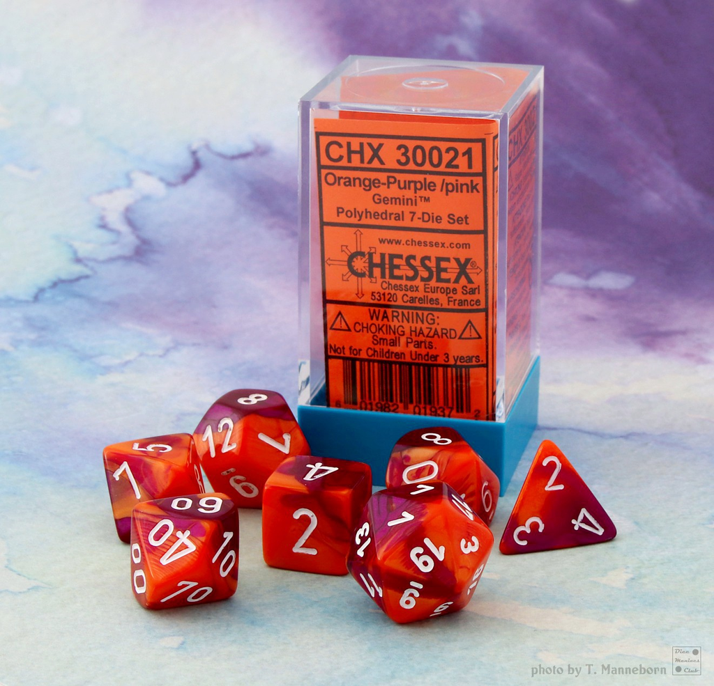 30021 Lab Dice Gemini Orange-Purple w/ White 7pc Set