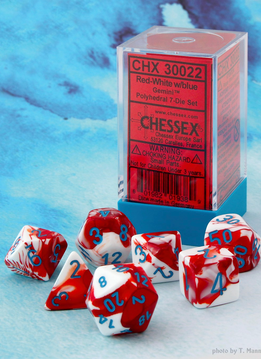 30022 Lab Dice Gemini Red-White w/ Blue 7pc Set
