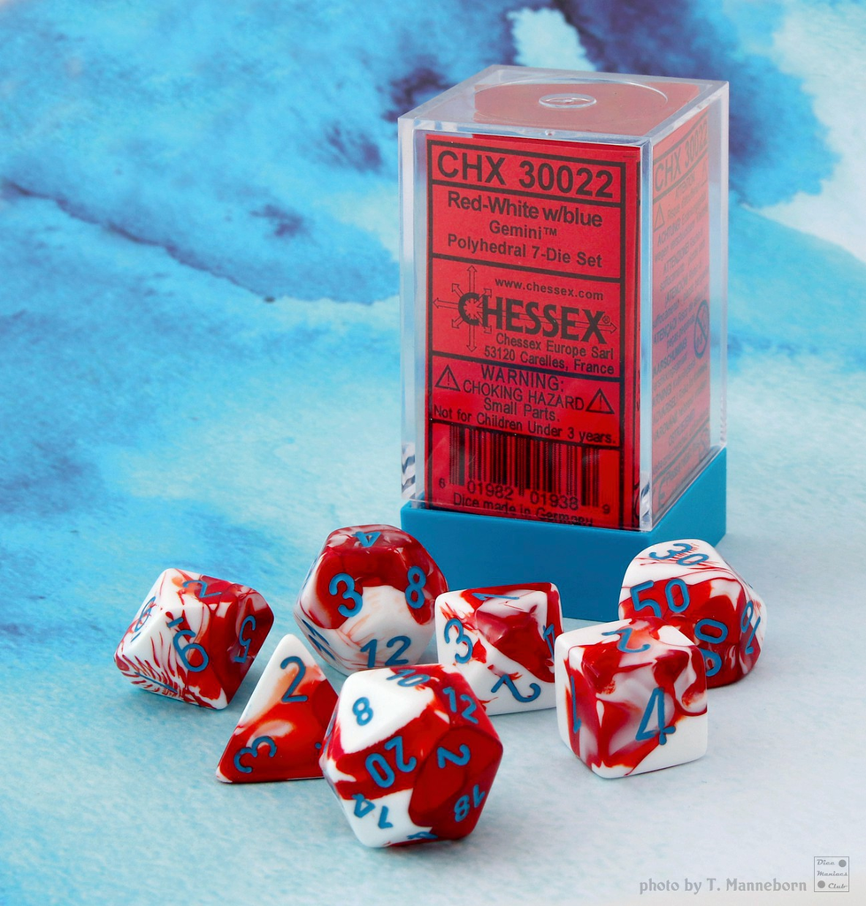 30022 Lab Dice Gemini Red-White w/ Blue 7pc Set