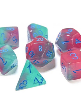 30023 Lab Dice Gemini Gel Green-Pink w/ Blue 7pc Set