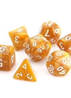 POLY RPG SET - GOLD SWIRL w/ WHITE