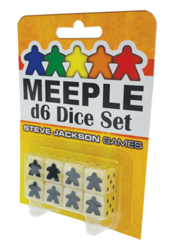 Meeple d6 Dice Set White (8)