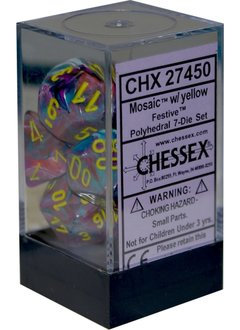 27450: Festive Mosaic w/Yellow 7pc Dice Set