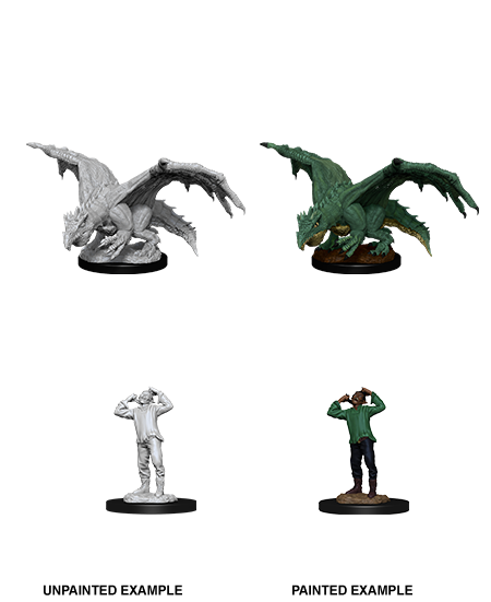 D&D Unpainted Minis: Green Dragon Wyrmling & Afflicted Elf (WV11)