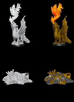 D&D Unpainted Minis: Gold Dragon Wyrmling & Small Treasure Pile (WV11)
