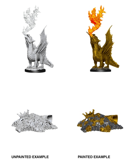 D&D Unpainted Minis: Gold Dragon Wyrmling & Small Treasure Pile (WV11)