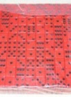 Brique de 200 d6 16mm opaques - Rouge avec points noirs