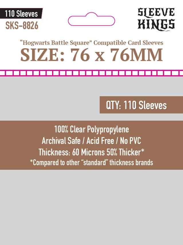 """""""Hogwarts Battle Square"""" Compatible Sleeves 76mm x 76mm 110ct"""