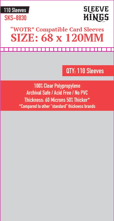 """""""WOTR Perfect Compatible"""" Sleeves 68mm x 120mm 110ct"""