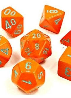 30038 Lab Dice Heavy Orange w/ Turquoise 7pc Set