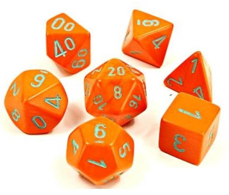 30038 Lab Dice Heavy Orange w/ Turquoise 7pc Set