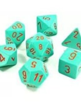 30039 Lab Dice Heavy Turquoise w/ Orange 7pc Set