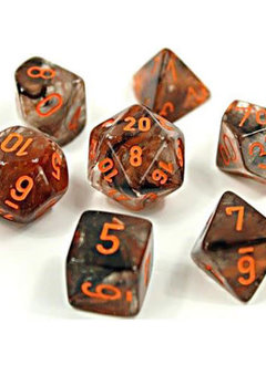 30040 Lab Dice Nebula Copper Matrix w/ Orange Luminary 7pc Set