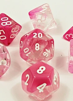 30042 Lab Dice Gemini Clear and Pink w/ White Luminary 7pc Set