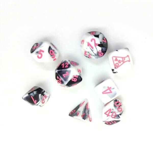 30043 Lab Dice Gemini Black and White w/ Pink 7pc Set